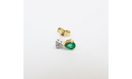 18ct Gold Emerald & Diamond Earrings