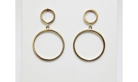 9ct Gold Double Ring Drop Earrings