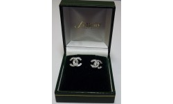 18ct White Gold Diamond CC Stud Earrings