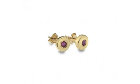 9ct Gold Round Ruby Set Stud Earrings