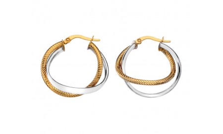 9ct Gold Large Round Rope Crossover Hoop Earrings