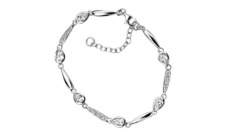 Elements Silver Clear CZ Teardrop Bracelet