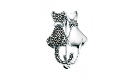 Beginnings Silver Marcasite & Plain Double Cat Brooch