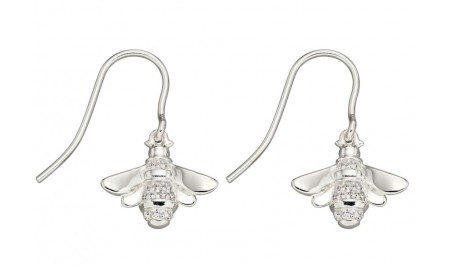 Elements Silver CZ Bee Earrings