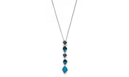 Elements Silver Blue Swarovski Crystal Drop Necklace