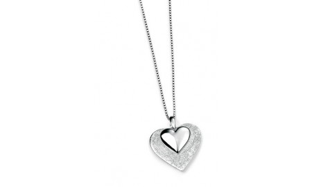 Elements Silver Scratched & Polished Heart Pendant