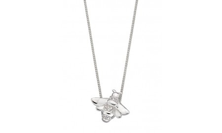 Elements Silver CZ Bee Pendant