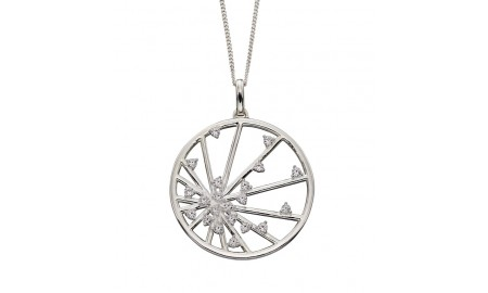 Elements Silver CZ Spider Web Pendant