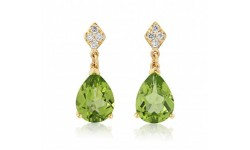 9ct Gold Peridot & Diamond Earrings