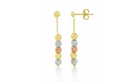 9ct Rose, Yellow & White Gold Bead Drop Earrings