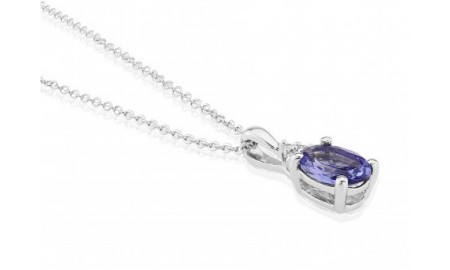 9ct White Gold Tanzanite & Diamond Oval Pendant