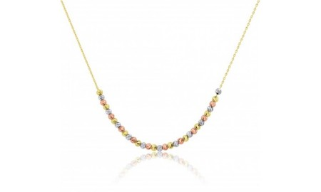 9ct Rose, Yellow & White Gold Bead Necklace