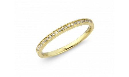 18ct Gold Diamond Millgrain Half Eternity Ring
