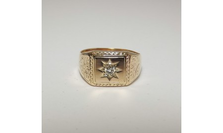 Pre-owned Gents 9ct Gold Diamond Set Signet Ring