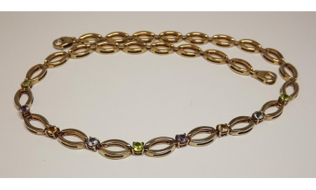 Pre-owned 9ct Gold Multi-gem Necklace