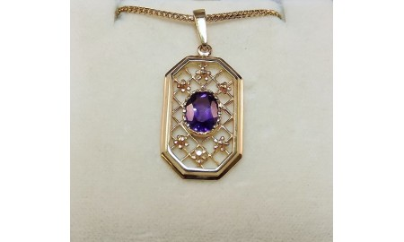 Pre-owned 9ct Gold Amethyst Pendant & Chain