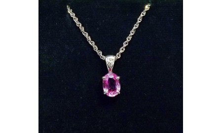 Pre-owned 18ct White Gold Pink Sapphire & Diamond Pendant