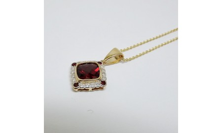 Pre-owned 9ct Gold Garnet & Diamond Pendant