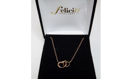 9ct Two Tone Double Heart Necklace