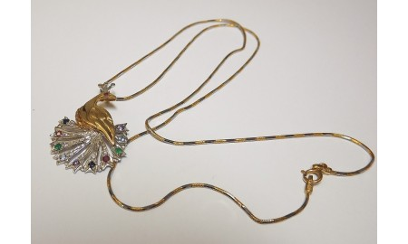 Pre-owned 18ct Gold Peacock Pendant