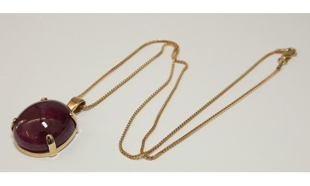Pre-owned 9ct Gold Cabouchon Ruby Pendant