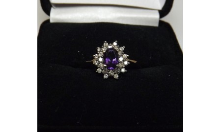 Pre-owned 9ct Gold Amethyst & Diamond Dress Ring