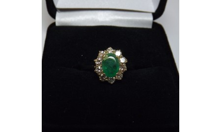 Pre-owned 14ct Gold Emerald & Diamond Ring