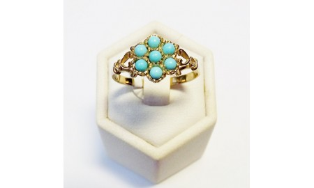 9ct Gold Turquoise Cluster Ring