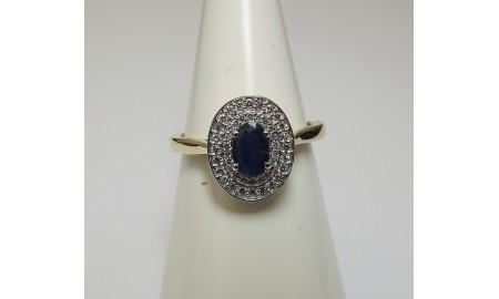 9ct Gold Double Halo Sapphire & Diamond Cluster Ring