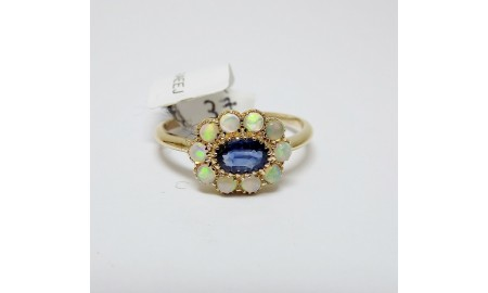Pre-owned 9ct Gold Sapphire & Opal Ring