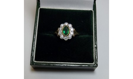Pre-owned 18ct Gold Emerald & Diamond Ring