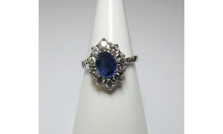 Vintage 18ct White Gold Sapphire & Diamond Cluster Ring
