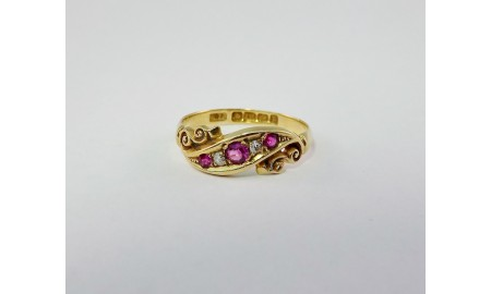 Antique 18ct Gold Ruby & Diamond Ring