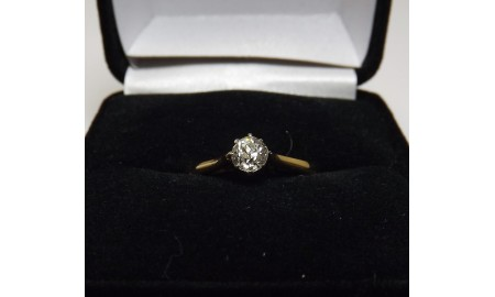 Vintage 18ct Gold & Platinum Diamond Solitaire Ring