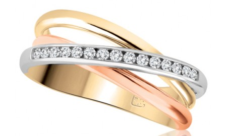 10ct Three Tone Gold Diamond Set Ring