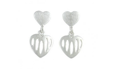 Silver Dual Heart Drop Earrings
