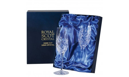 Royal Scot Crystal London Box of 2 Champagne Flutes