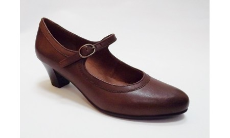 Caprice Court Shoe - Cognac Leather