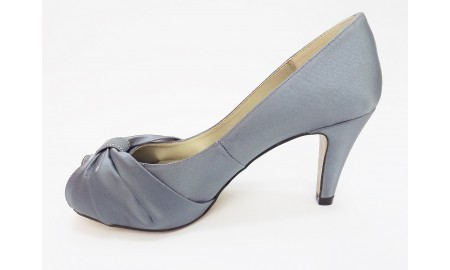 Capollini Grey Satin Bow Evening Shoe