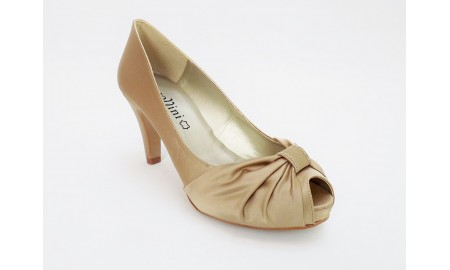 Capollini Beige Satin Bow Evening Shoe