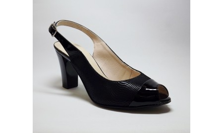 Gamis Collection Peep Toe Sling Back - Black