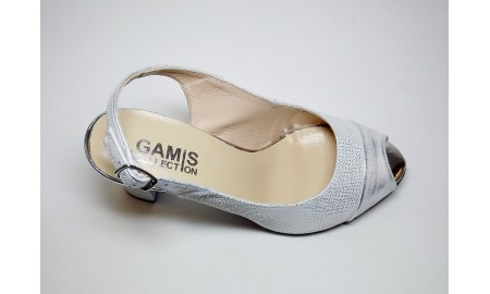 Gamis Collection Peep Toe Sling Back - Silver & White