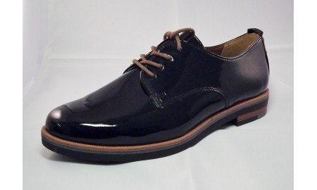 Marco Tozzi Black Patent Lace Up Shoe