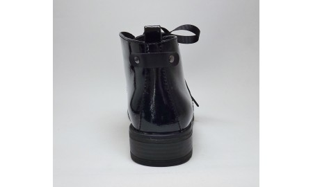 Marco Tozzi Black Patent Ankle Boots