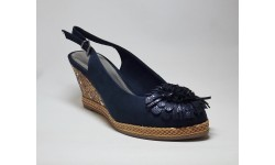 Marco Tozzi Navy Suedette Wedge Shoe