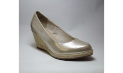 Marco Tozzi Platinum Patent Wedge Court Shoe