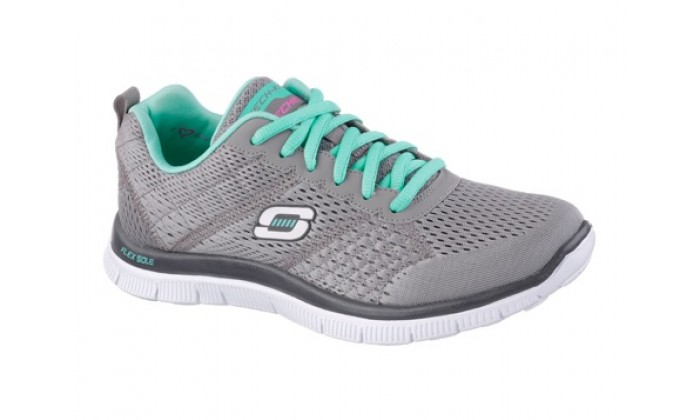 3159a87edee6 Skechers Flex Appeal - Obvious Choice Trainers - Grey   Turquoise